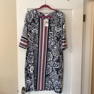Charter Club Dresses - Very cute navy and pink casual dress